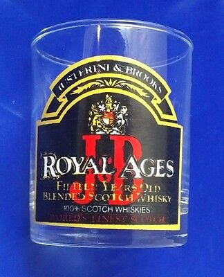 """Vintage Justerini & Brooks (J&B) """"Royal Ages"""" Scotch Whiskey Low Ball Glass 70s"""