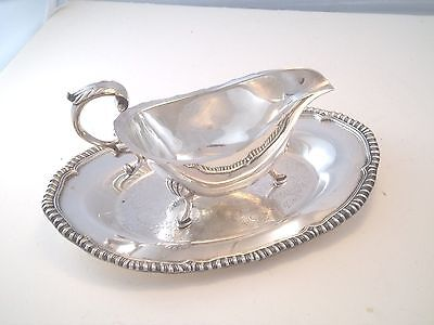 English Silver Soldered Sauce Boat Hoof Feet Silverplate Tray Gadroon Rim