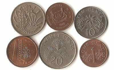 Lot of six Singapore coins, 1, 10, and 20 cents, dated 1968 - 2000, seahorse