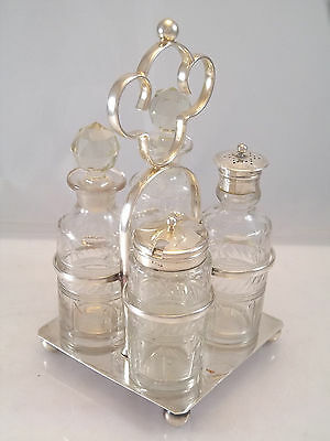 English Silver Plate Cruet Holder Frame Glass Bottle Shaker Mustard Pot Hallmark