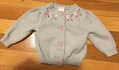 Gymboree Baby Girl Gray Cardigan Sweater Embroidered Flowers 0-3 Months