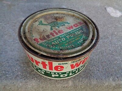 Vintage 1959 New Turtle Wax Auto Polish 9 oz. Can Great Turtle Graphics
