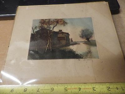 antique SIGNED ARTIST CHARCOAL PAINTING DRAWING SEA OCEAN LAKE COTTAGE VIEW