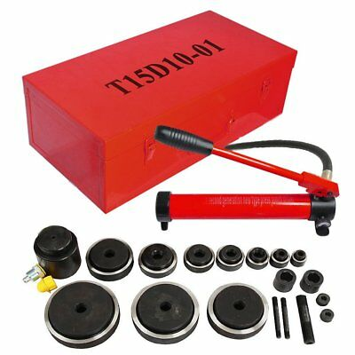 Hydraulic Knockout Punch Driver 15 Ton 10 Dies Hand Pump Conduit Hole Tool Kits