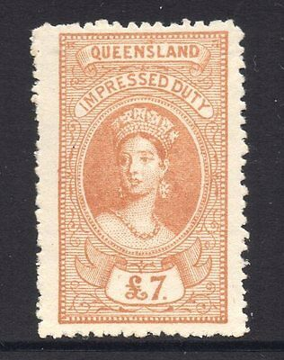Queensland  Revenue 1895 Q.Victoria Impressed  Duty   £7 Pound  CTO Mint/H