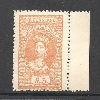 Queensland  Revenue 1895 Q.Victoria Impressed  Duty   £3 Pound  CTO Mint/H