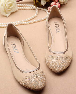 hot silk satin Wedding flat ballet fine lace bride shoes size 5-9.5