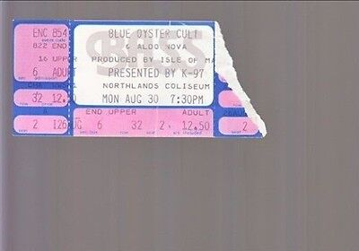 Lot Of 2 Used Blue Oyster Cult  Ticket Stubs Mon Aug 30 Northlands Coliseum