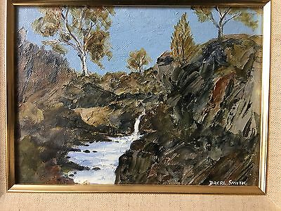 """Dacre Smyth -  Beautiful-Original Oil."""" Waterfall In The Ranges - 1989"""