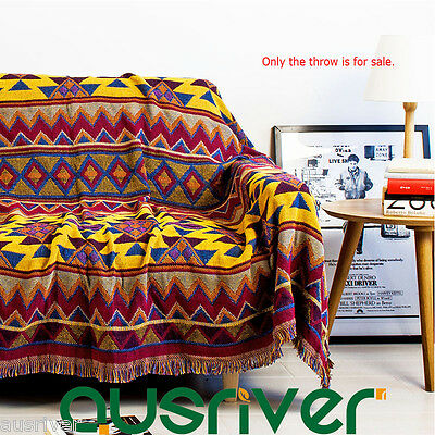 Cotton Bohemian Boho Vintage Retro Throw Rug Couch Lounge Sofa Blanket 180x220cm