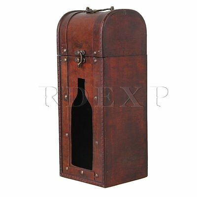 Portable Wooden Vintage Wine Bottle Storage and Gift  Box Case Holder