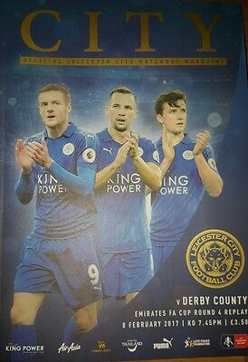 Leicester City V Derby County 08/02/17 FA Cup Programme & Teamsheet.