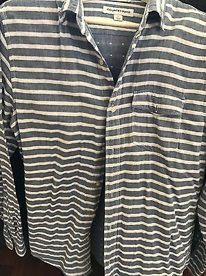 Mens country road blue stripe casual shirt size xs