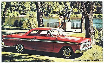 1964 Mercury COMET CALIENTE HARDTOP Original Dealer Promo Postcard Unused VG+/EX