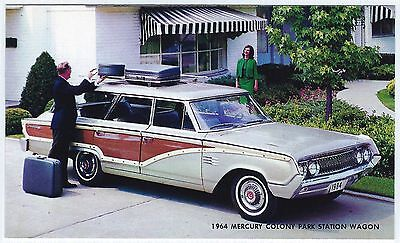1964 Mercury COLONY PARK STATION WAGON Original Dealer Promo Postcard Unused VG+