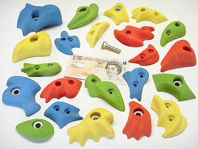 22x MIX COLOUR  BOLT-ON & SCREW-ON ROCK CLIMBING WALL HOLDS SET
