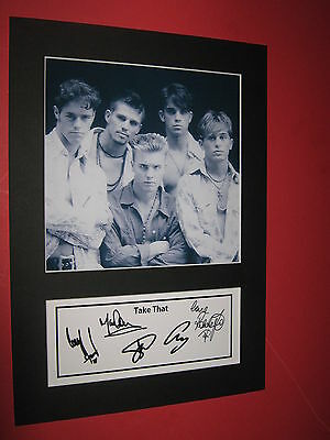 Take That A4 Photo Mount Signed Printed Cd Ticket Gary Barlow Robbie Williams