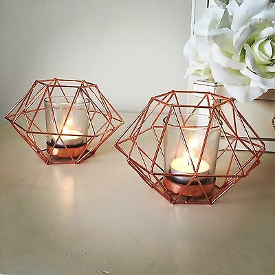 A Pair of Candle Holder Copper Crush Geometric Tea Light Candle Holders