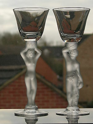 Bayel (France) - Art Deco - Two Nude Figural Stem Cordial Glasses.