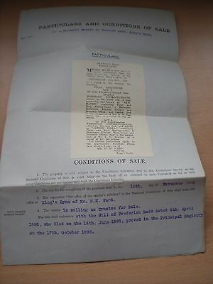 Particulars & Conditions Of Sale Of A Freehold Estate In King's Lynn 12/11/1923