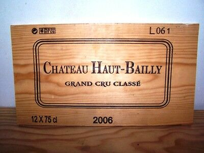estampe facade bois Chateau haut bailly 2006 wine crate front panel ohk owc cbo