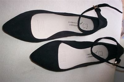 Black Suede Leather Shoes NEW size 6 / 37 Ankle Strap