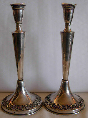 Pair Of Vintage Sterling Silver Candle Sticks W/ Raised Roses - Jewish Judaica