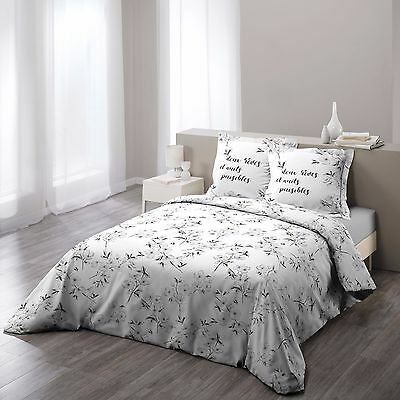 "Housse de couette + 2 taies 220x240cm ""ASHLEY GRIS"" 100% Coton 57 Fils"