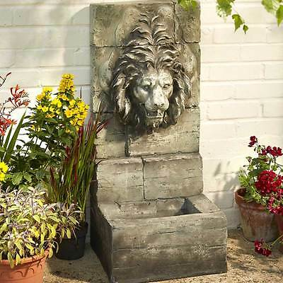 Grey Stone Lion Garden Fountain Illumintated Water Feature