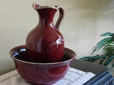 NEW Pottery Barn Sausalito Palermo stoneware two-toned glazed PITCHER & BOWL Red