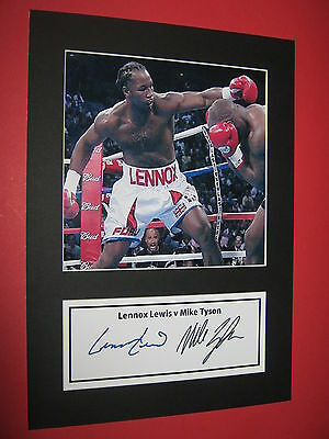 LENNOX LEWIS v MIKE TYSON BOXING  A4 PHOTO MOUNT SIGNED PRE-PRINTED
