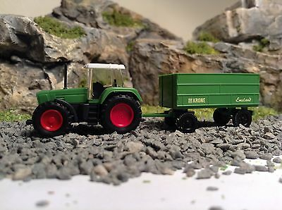 N Gauge Wiking Farm Tractor And Loading Trailer Scenery Set New