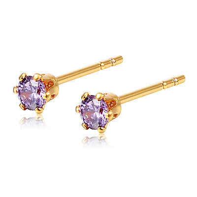 Girls Tiny 14K Yellow Gold Plated Stud Earrings Safety Back Earings Pink 4mm