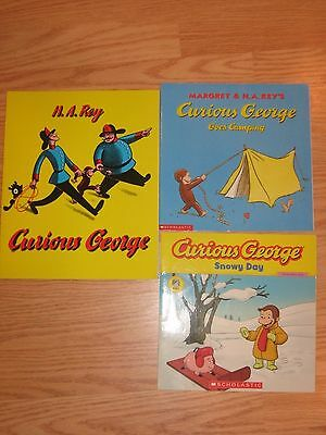Lot of 3 CURIOUS GEORGE Children's Books H.A. Rey Paperback
