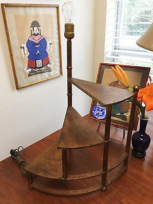 Hollywood Regency Gilt Tole Florentine Faux Bamboo Italian Stair Display Lamp