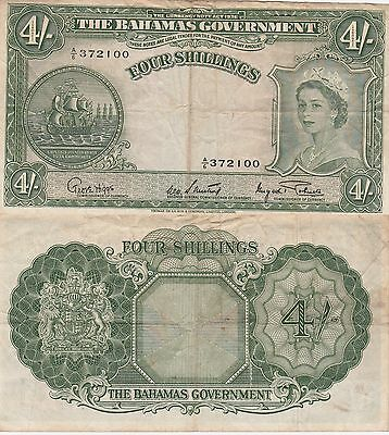 Bahamas Government 4 Shillings Banknote 1953 Very Fine Condition Cat#13-D