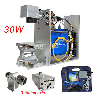 30W Portable Fiber Laser Metal Marking Machine With Rotation Axis 220V Powerful