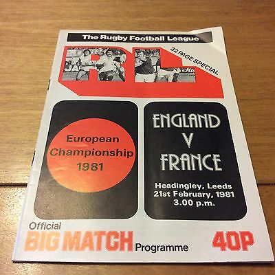 Rugby League Europeaen Championship 1981 England  v France  official programme