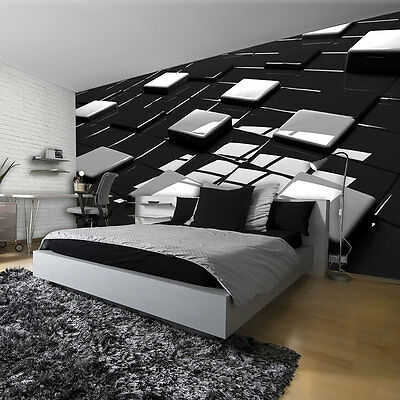 poster tapete tapeten fototapete wandbild schwarz quadrate muster 3d 2579 p4 eur 29 90. Black Bedroom Furniture Sets. Home Design Ideas