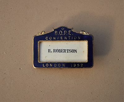Vintage BOPE Convention London 1952 Political Pin badge  name staff badge