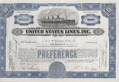 United States Lines Inc........1941 Stock Certificate
