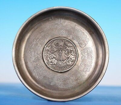 Very Rare Fine Old Chinese Silver Coin Plate Marked Xuantong Us015