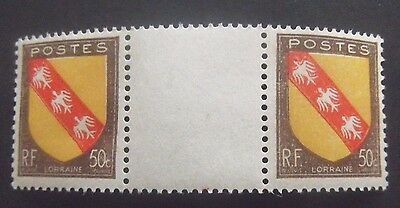 France-1946-50c Arms of Lorraine-Gutter pair-MNH