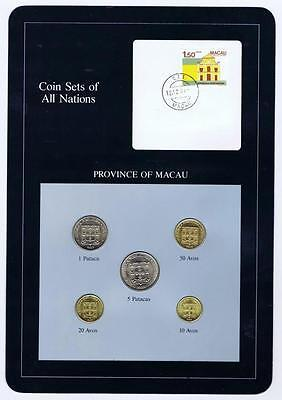 Province of Macau 5 pc Mint Set BU 1984 -88 Coin Sets of All Nations stamp