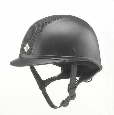 Charles Owen Ayr8 Leather Look Black Equine Horse Hats
