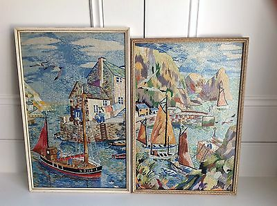 Vintage Tapestry Fishing Boats & Quay Cornish Staithes