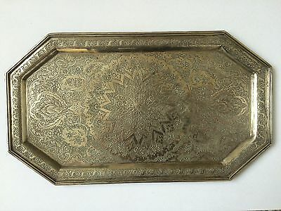 Antique Persian Topfine Engraved Isfahan Silver Tray Marked 84 257 Grams 25X15Cm