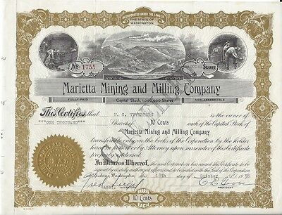 Marietta Mining And Milling Company....1936 Stock Certificate
