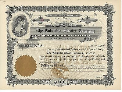 The Columbia Theatre Company (D.c.)....unissued Stock Certificate