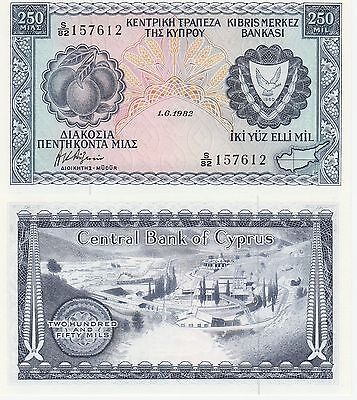 Cyprus 250 Mils Banknote,1.6.1982 Uncirculated Condition Cat#41-C-7612